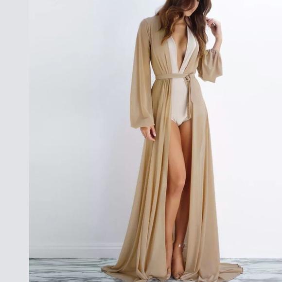 Long robe sheer Hollywood floor duster lingerie 46e5f3ac3